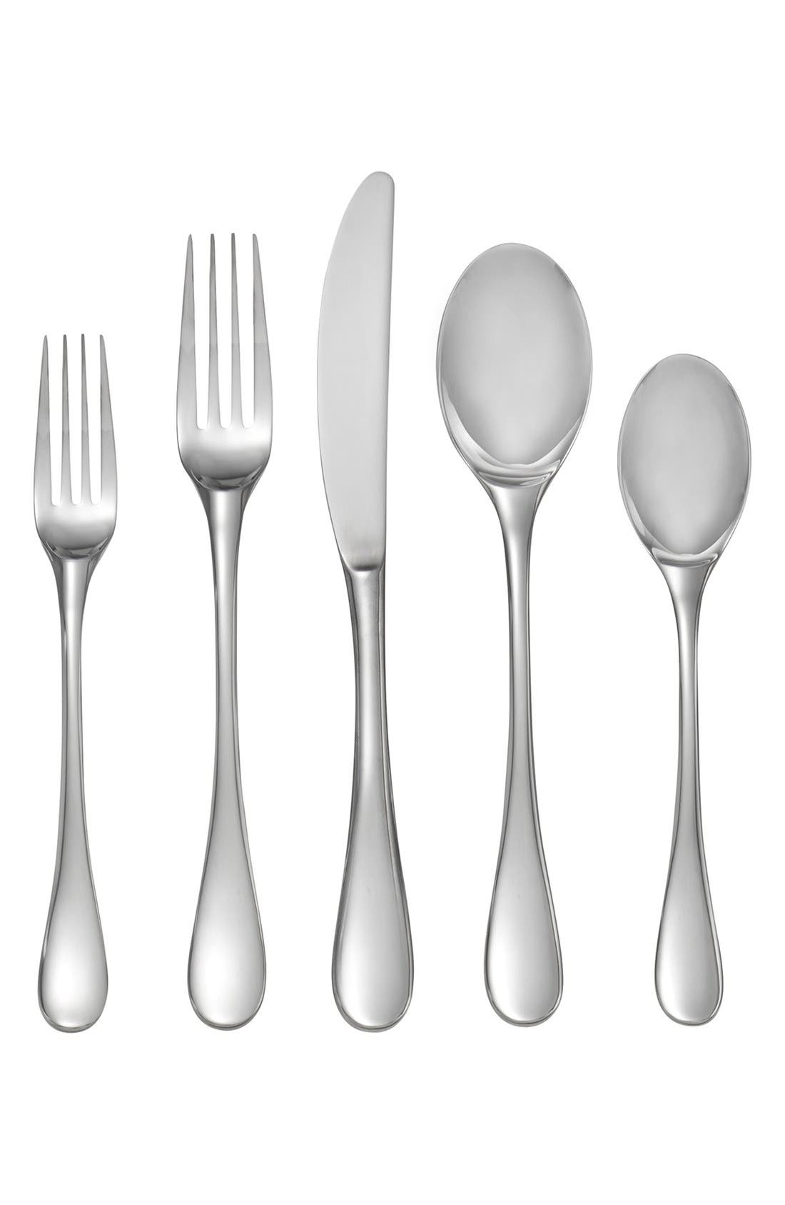 'Skye' 5-Piece Place Setting,                             Main thumbnail 1, color,                             Silver