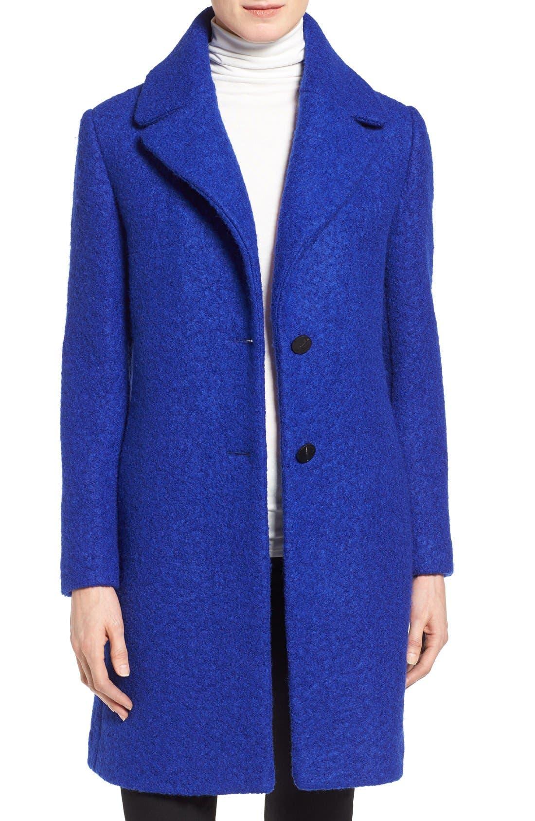 'Tessa' Boiled Wool Blend Coat,                         Main,                         color, Lapis Blue