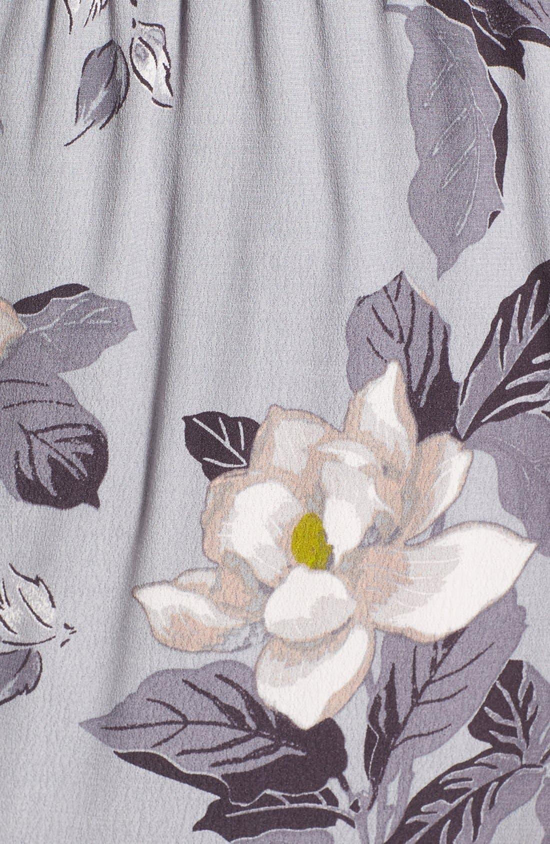 ASTR Ruffle Surplice High/Low Maxi Dress,                             Alternate thumbnail 5, color,                             Grey Multi Floral