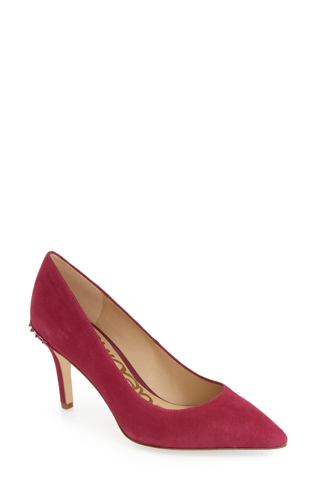 'Tonia' Spike Rand Pointy Toe Pump,                             Main thumbnail 1, color,                             Pink Suede