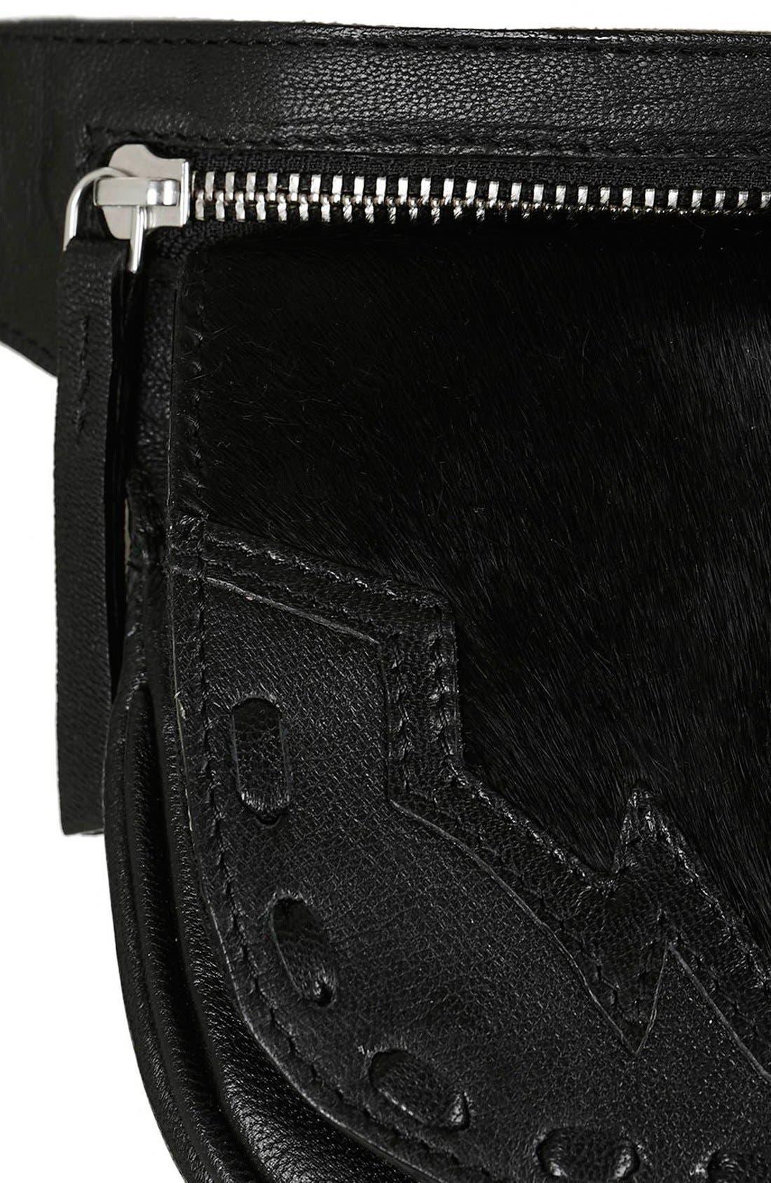 Alternate Image 5  - Topshop Western Leather & Calf Hair Belt Bag