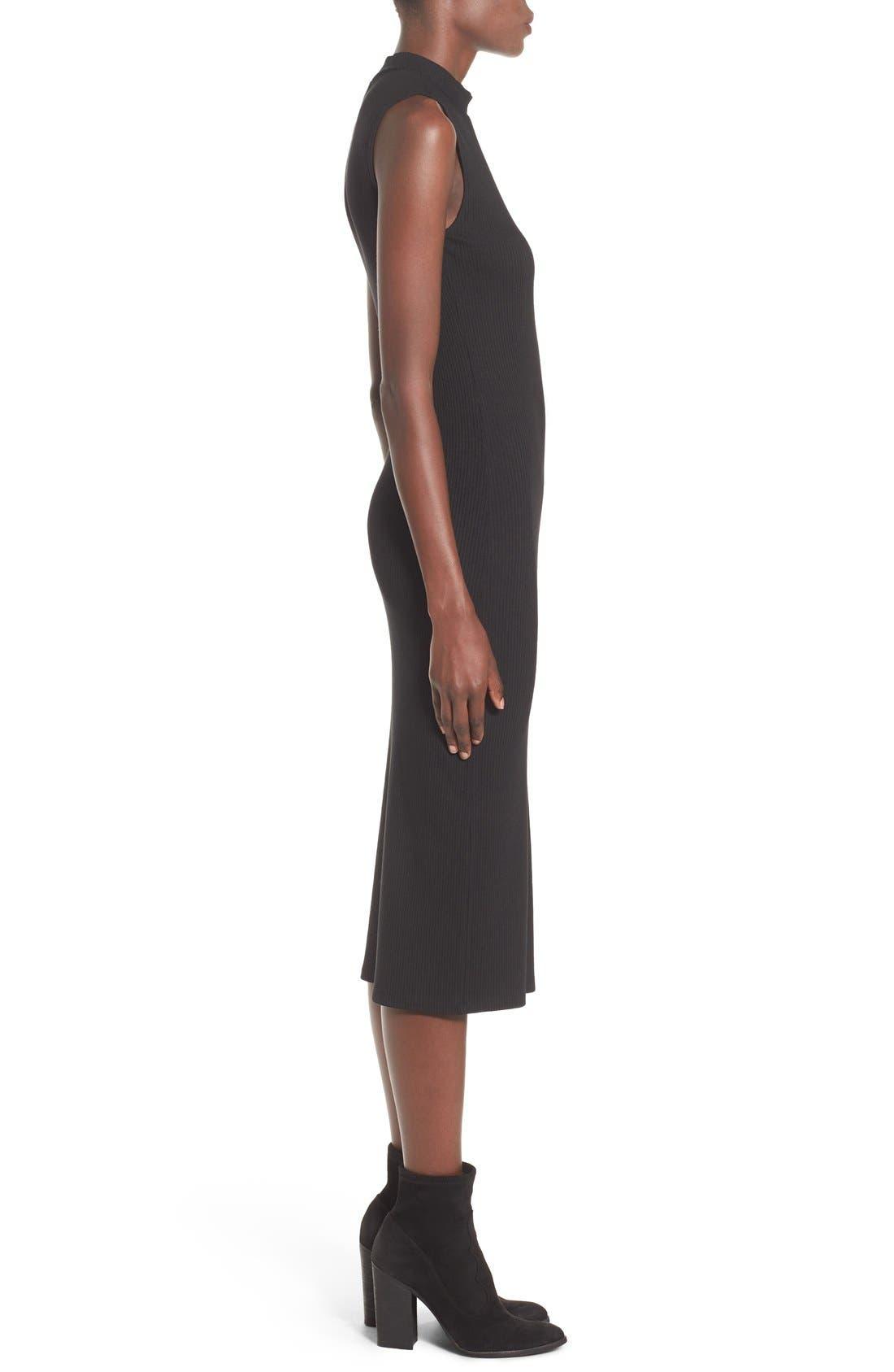 Mock Neck Midi Dress,                             Alternate thumbnail 3, color,                             Black