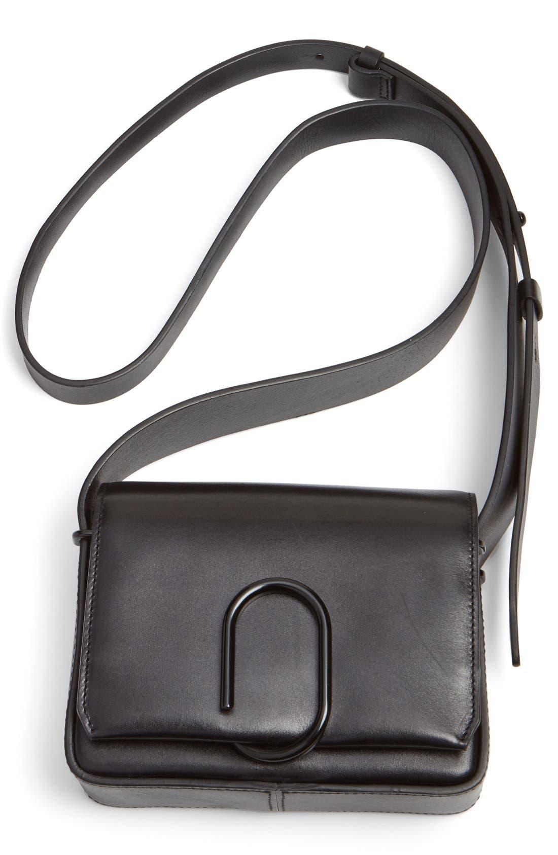 'Mini Alix' Leather Shoulder Bag,                             Alternate thumbnail 5, color,                             Black
