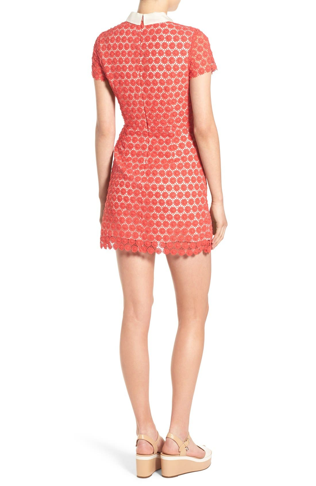 'Emily' Short Sleeve Lace Dress,                             Alternate thumbnail 2, color,                             Red