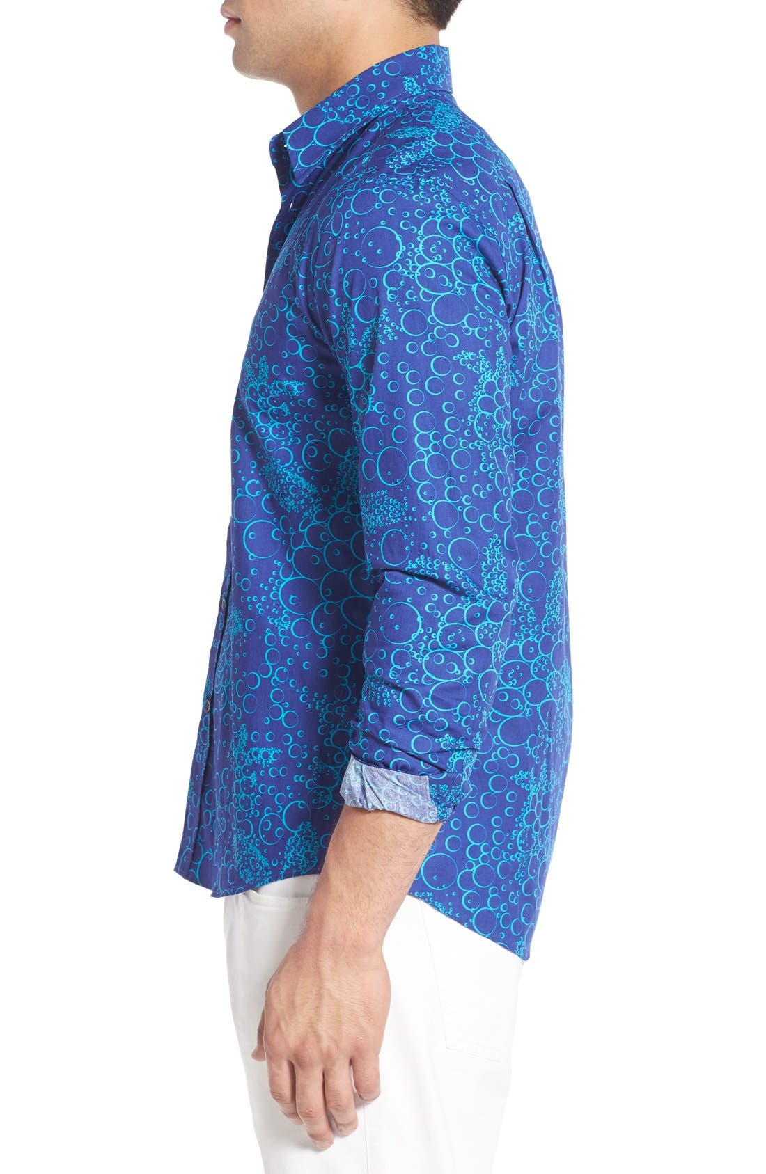 Regular Fit Turtle Print Sport Shirt,                             Alternate thumbnail 4, color,                             Celestial Blue