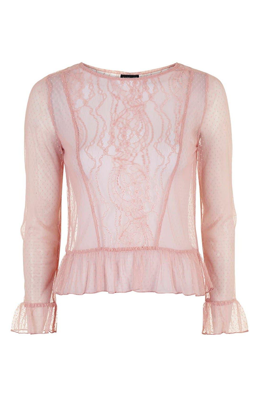 Alternate Image 5  - Topshop Sheer Lace Ruffle Hem Top