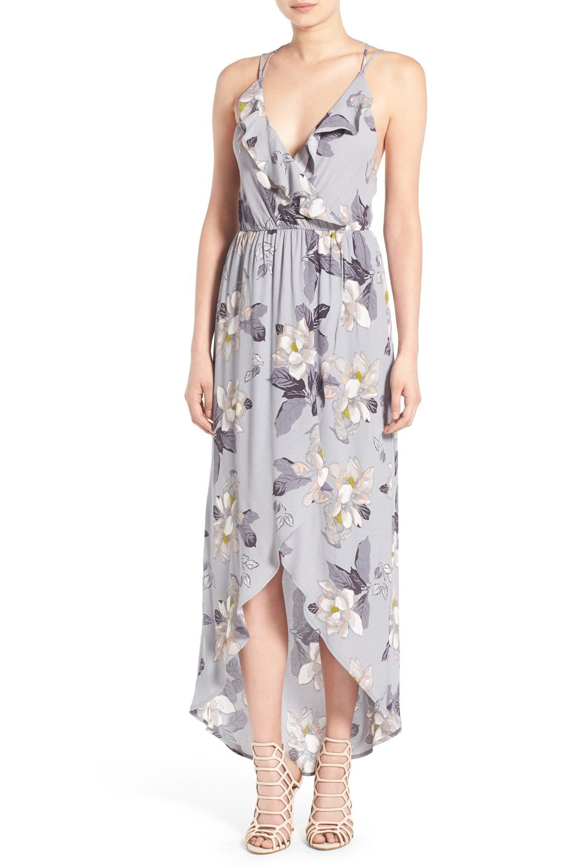 ASTR Ruffle Surplice High/Low Maxi Dress,                             Main thumbnail 1, color,                             Grey Multi Floral