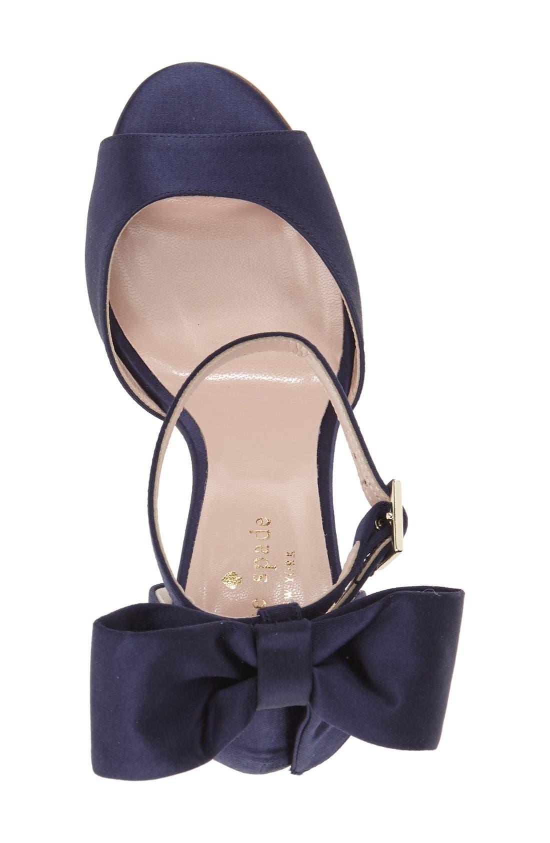 'izzie' sandal,                             Alternate thumbnail 3, color,                             Navy Satin
