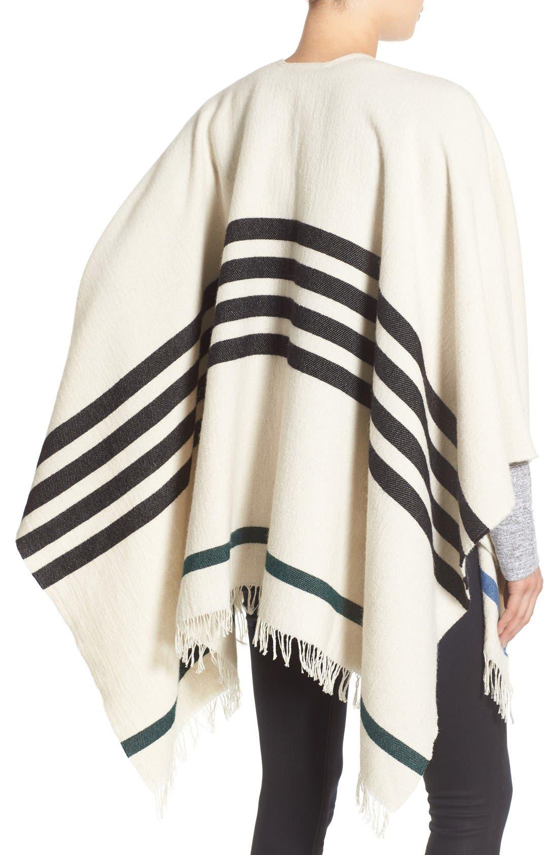 Alternate Image 2  - rag & bone 'Ines' Stripe Wool Blend Poncho