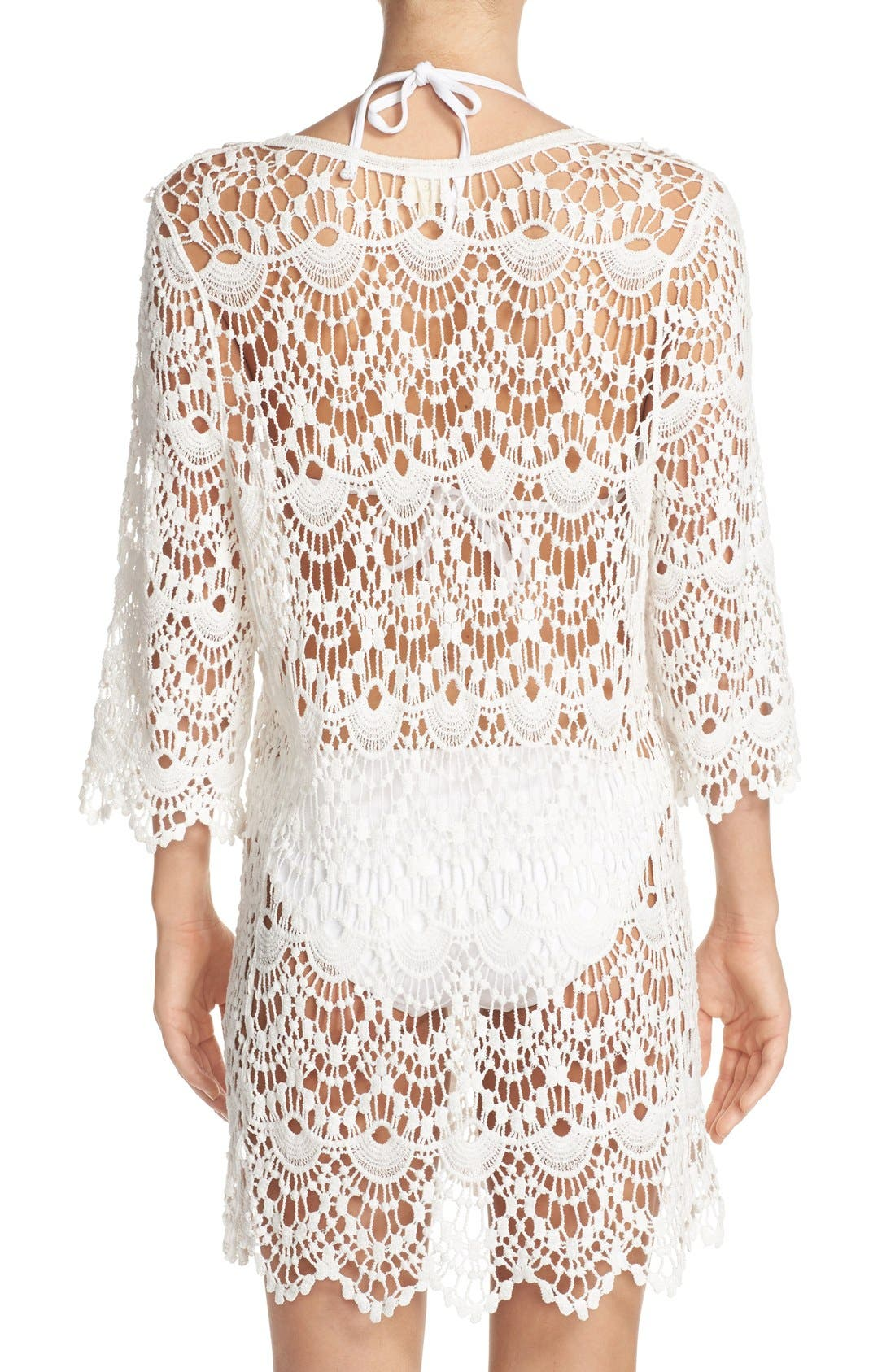 Crochet Cover-Up Tunic,                             Alternate thumbnail 2, color,                             White
