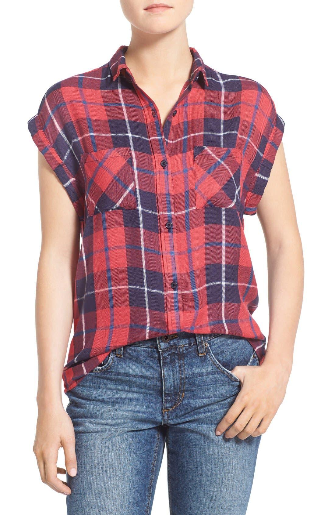 Alternate Image 1 Selected - Rails Plaid Cap Sleeve Shirt