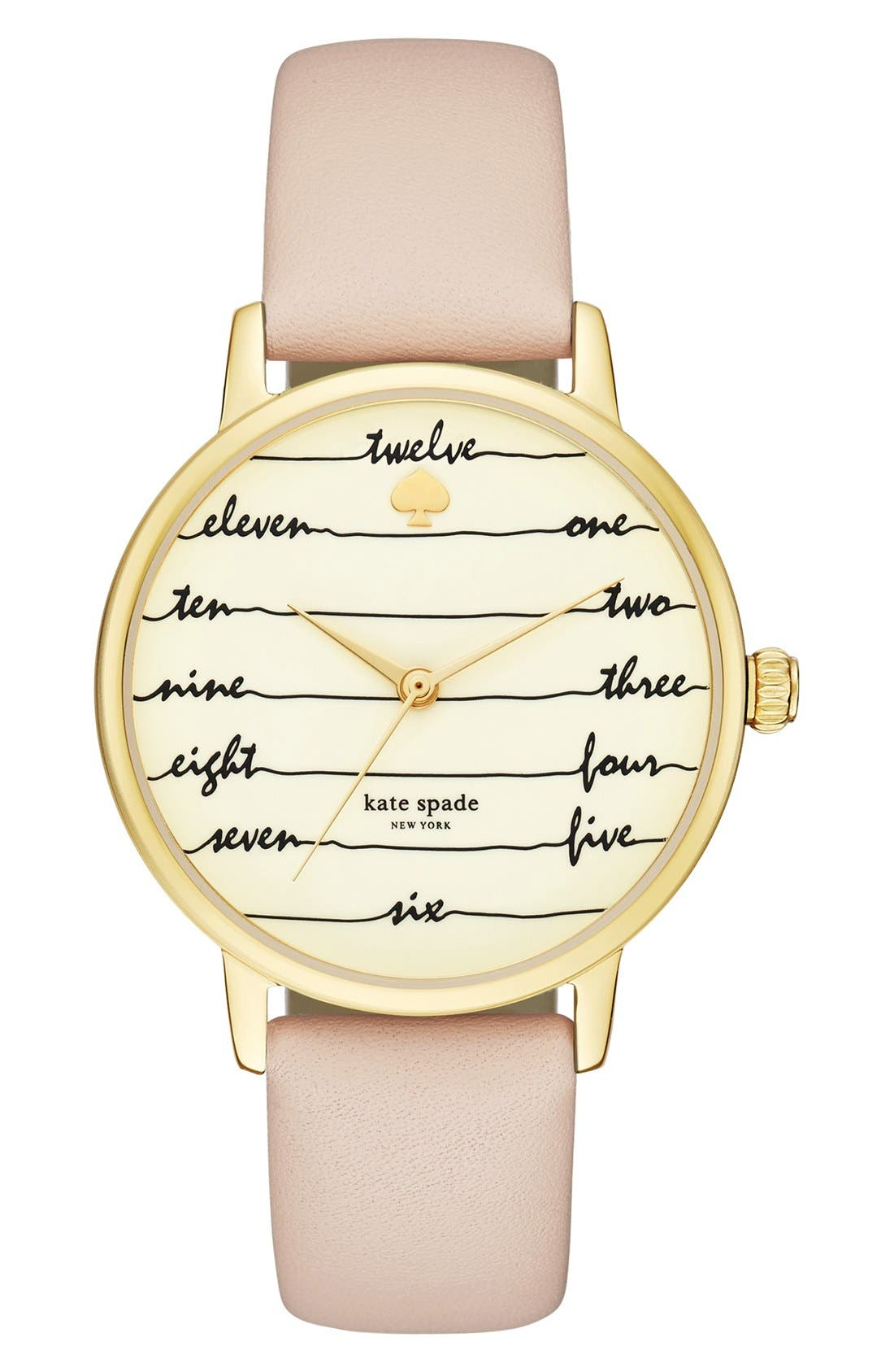 Alternate Image 1 Selected - kate spade new york 'metro - chalkboard' leather strap watch, 34mm