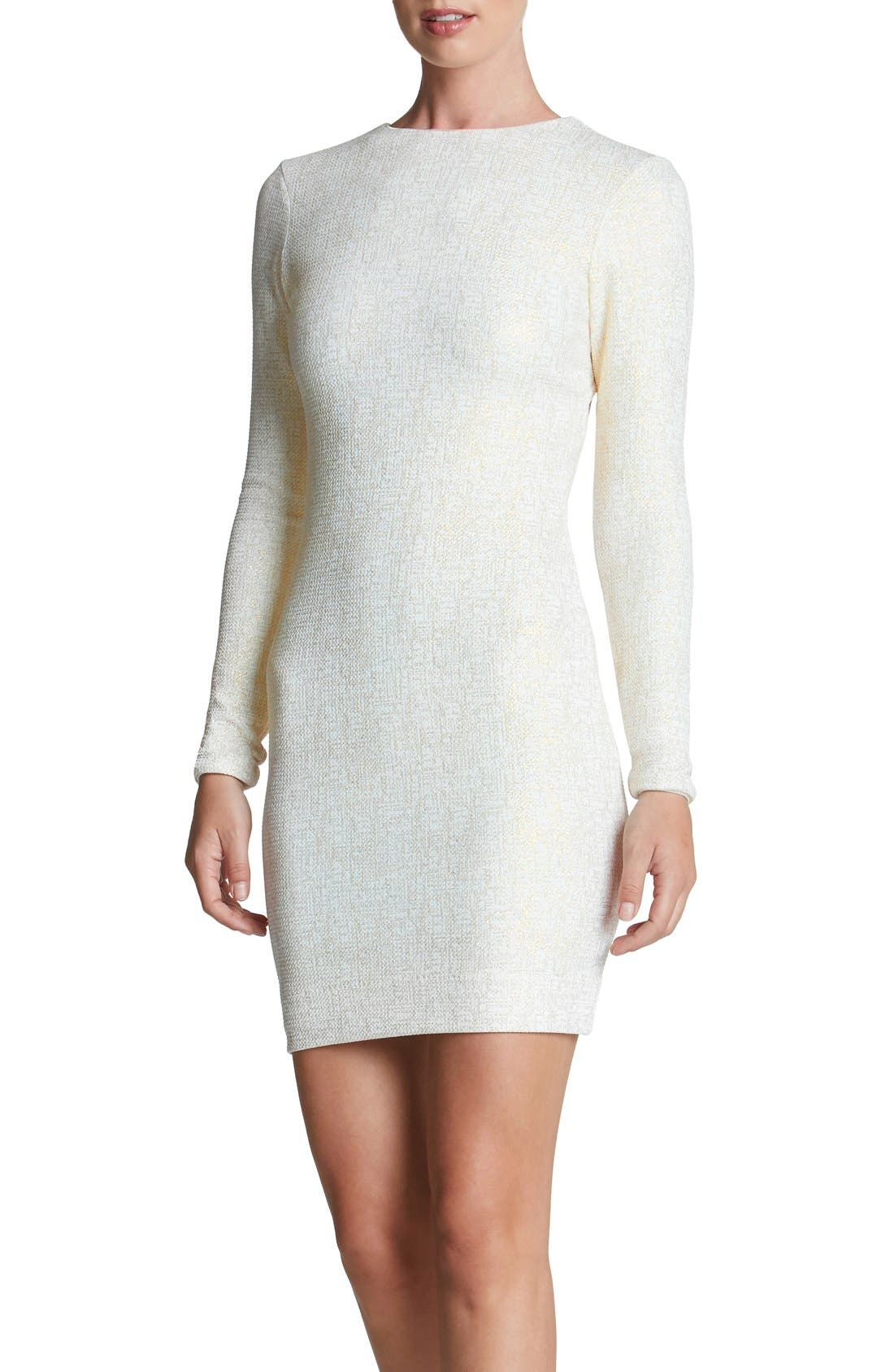Tori Body-Con Dress,                             Main thumbnail 1, color,                             Ivory/ Gold