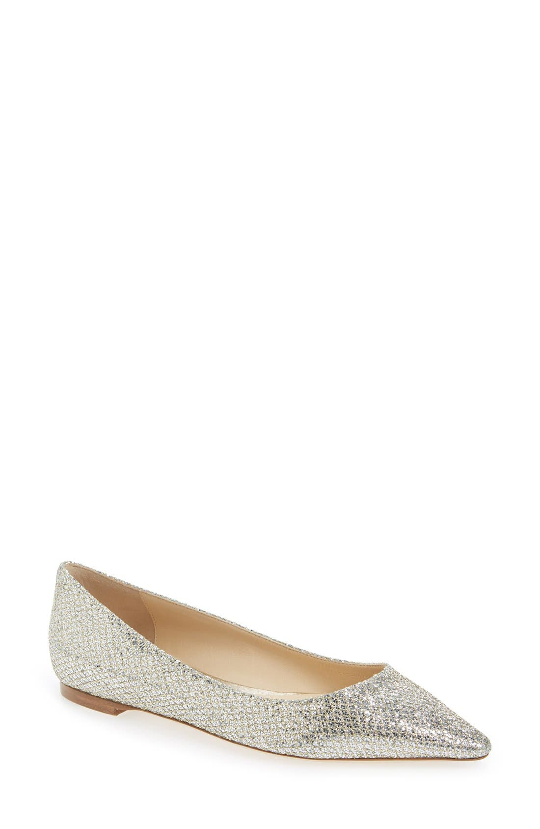 'Romy' Pointy Toe Flat,                         Main,                         color, Champagne