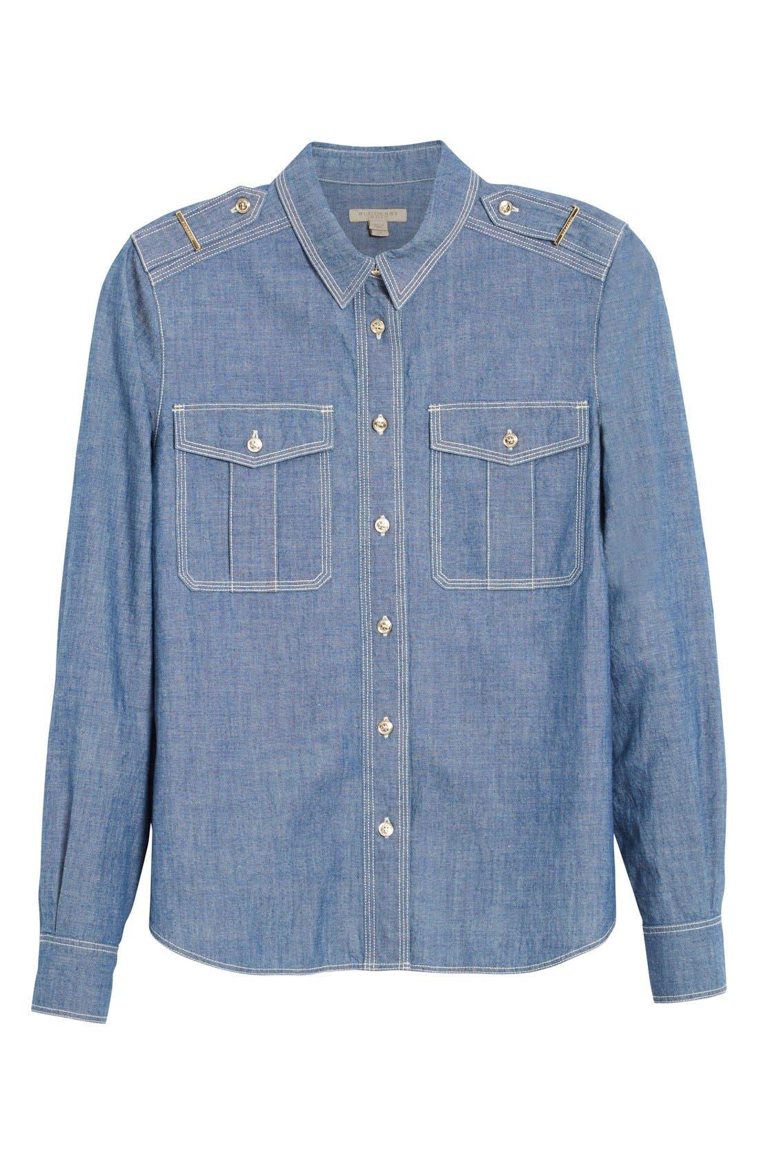 Alternate Image 4  - Burberry Check Cuff Denim Shirt