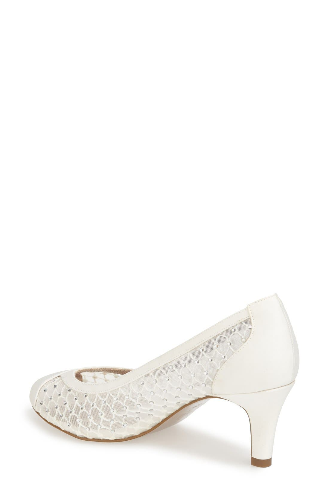 'Zandra' Crystal Embellished Peep Toe Pump,                             Alternate thumbnail 2, color,                             Ivory Faille