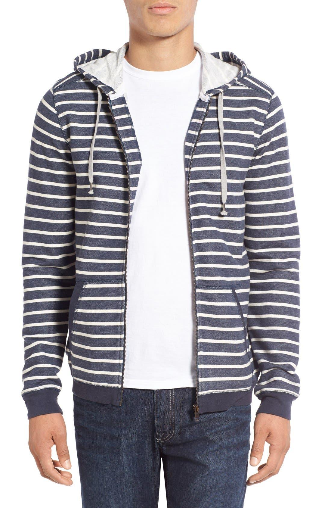 'Ashland' Stripe Zip Front Hoodie,                         Main,                         color, Navy Iris Stripe