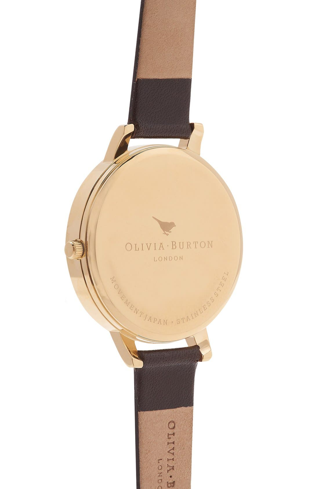 Alternate Image 3  - Olivia Burton 'Woodland Butterfly' Leather Strap Watch, 38mm