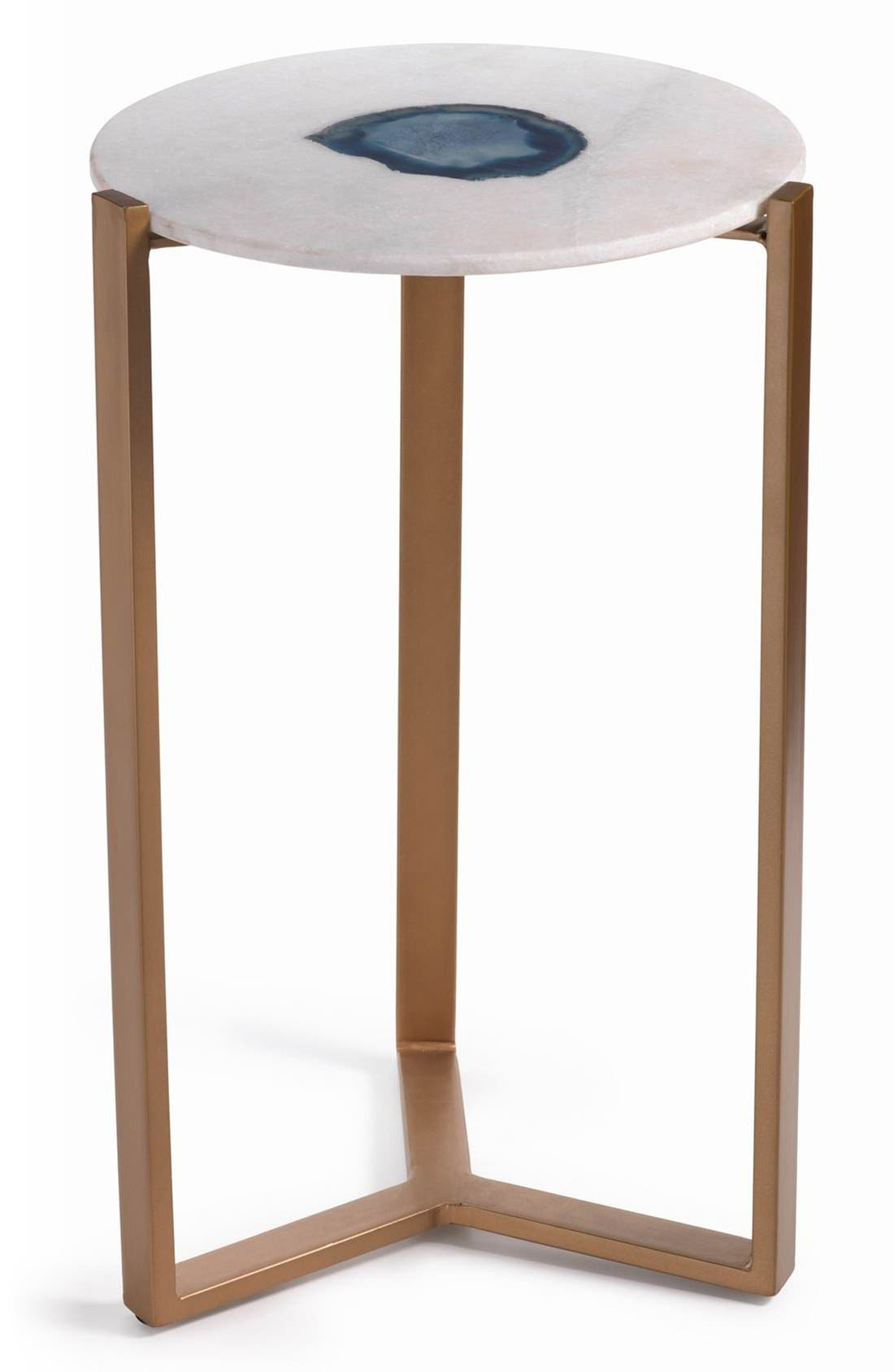 Caspian Agate & Marble Accent Table,                             Main thumbnail 1, color,                             White