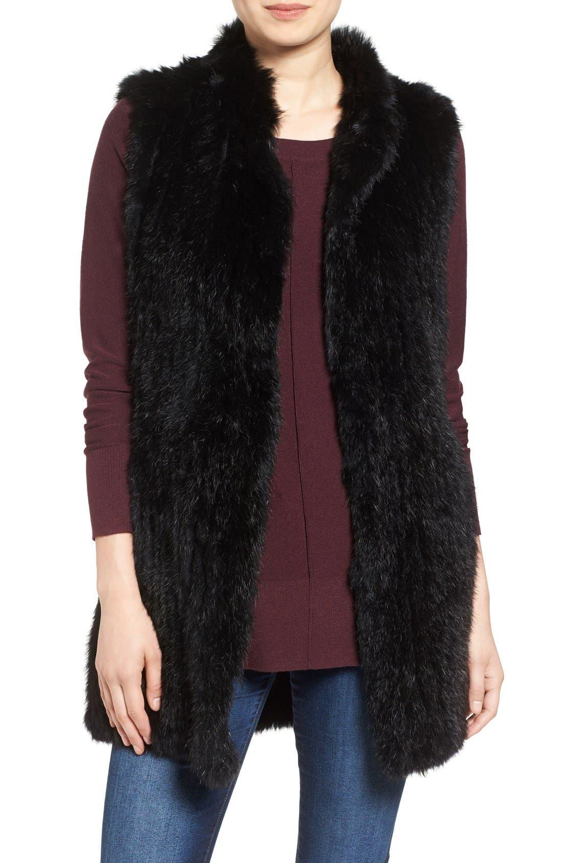 Long Genuine Rabbit Fur Vest,                             Main thumbnail 1, color,                             Black