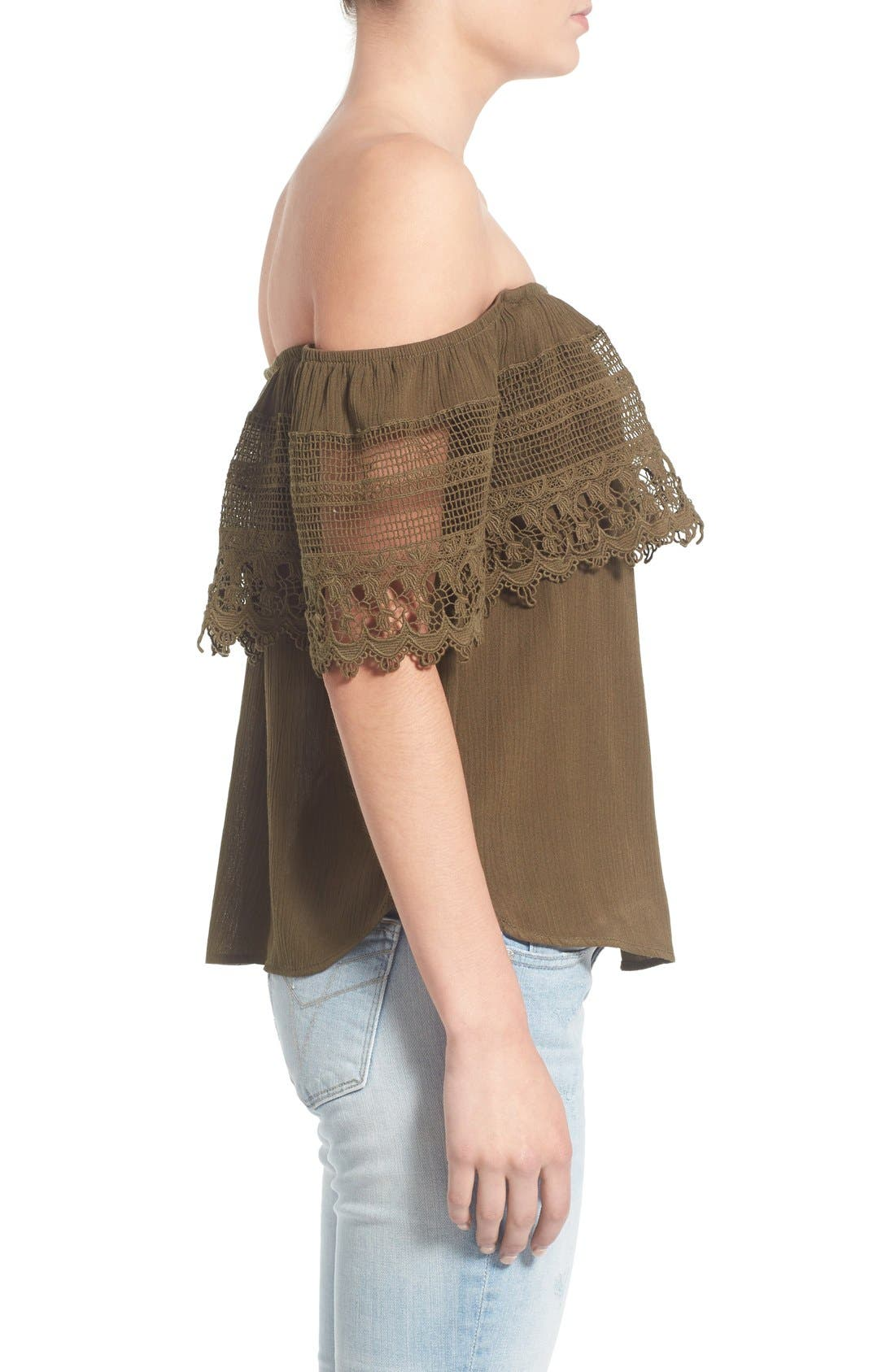 Alternate Image 3  - Socialite Crochet Off the Shoulder Top
