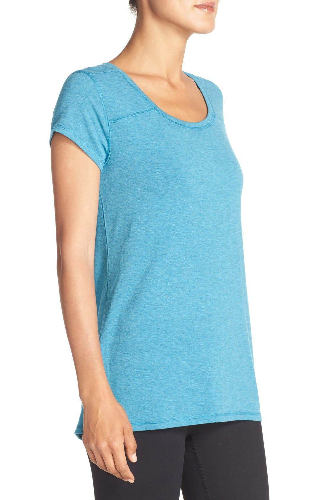 Swoop Cutout Tee,                             Alternate thumbnail 3, color,                             Blue Ultra Heather