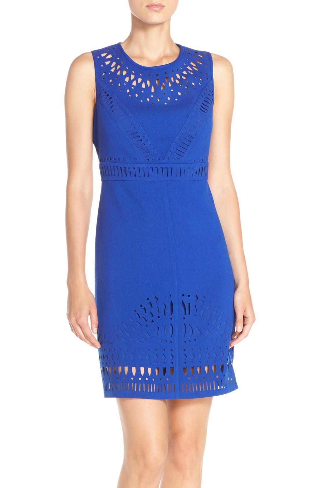 Alternate Image 1 Selected - Eliza J Laser Cut Crepe Sheath Dress (Regular & Petite)
