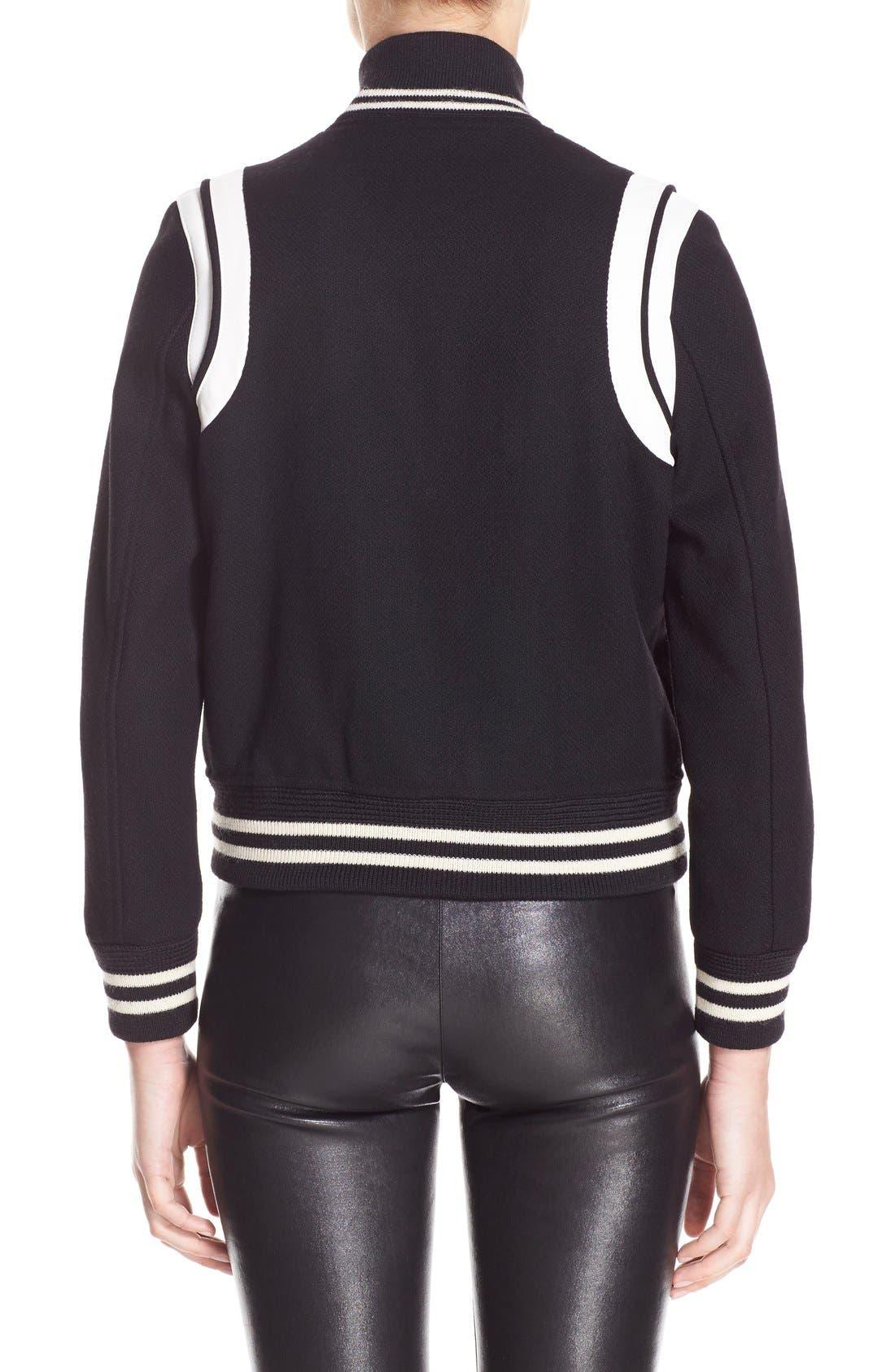 'Teddy' White Leather Trim Bomber Jacket,                             Alternate thumbnail 2, color,                             Black White