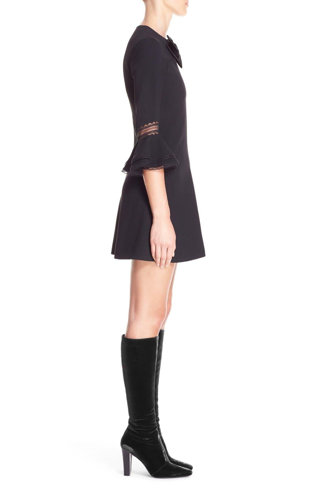 Alternate Image 4  - Saint Laurent Ruffle Trim Crepe Sable Babydoll Dress