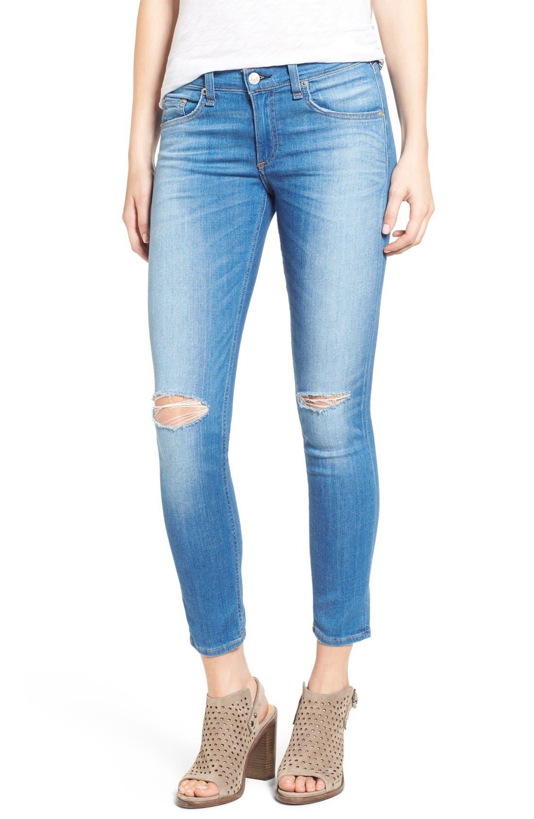 Main Image - rag & bone/JEAN Destroyed Crop Skinny Jeans