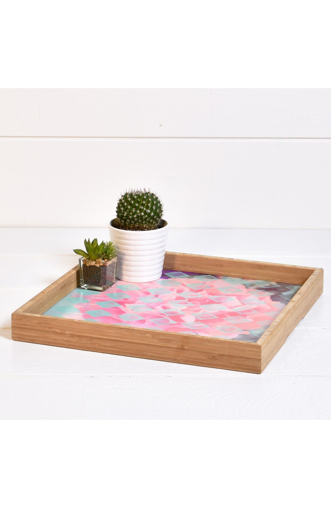 'Floral Diamonds' Decorative Serving Tray,                             Alternate thumbnail 2, color,                             Pink