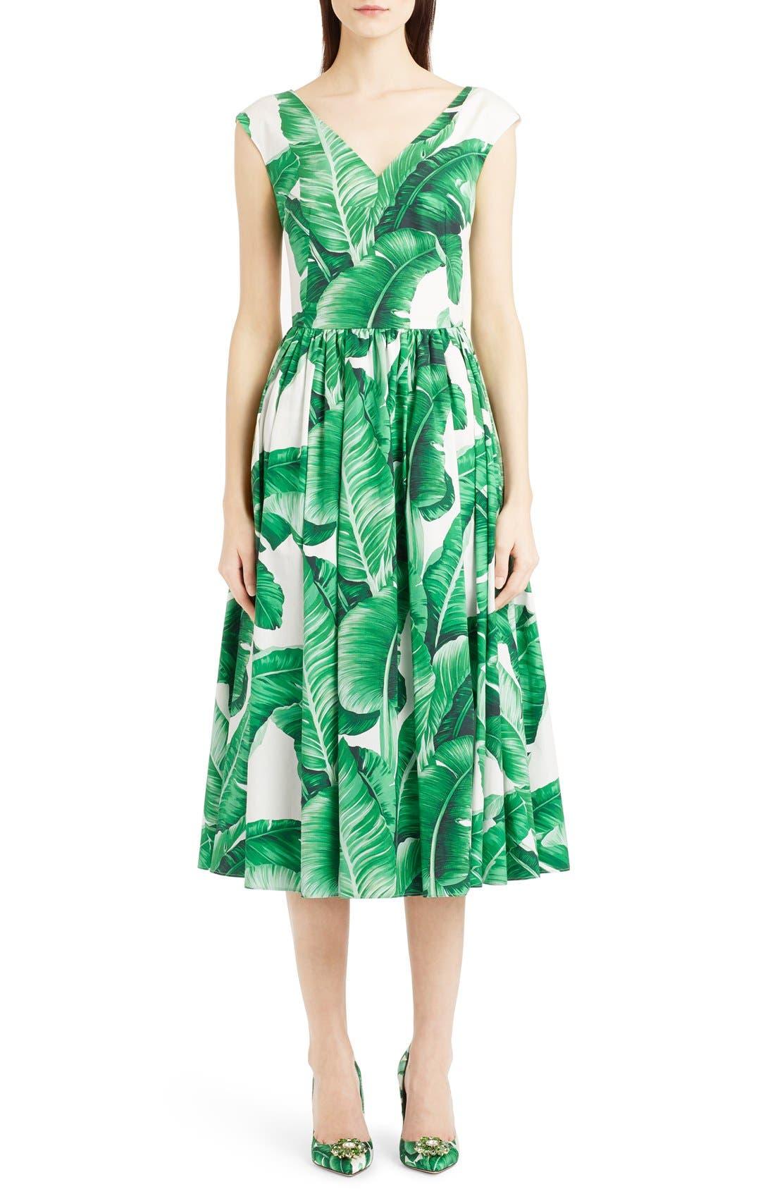 Main Image - Dolce&Gabbana Banana Leaf Print Cotton Poplin Dress