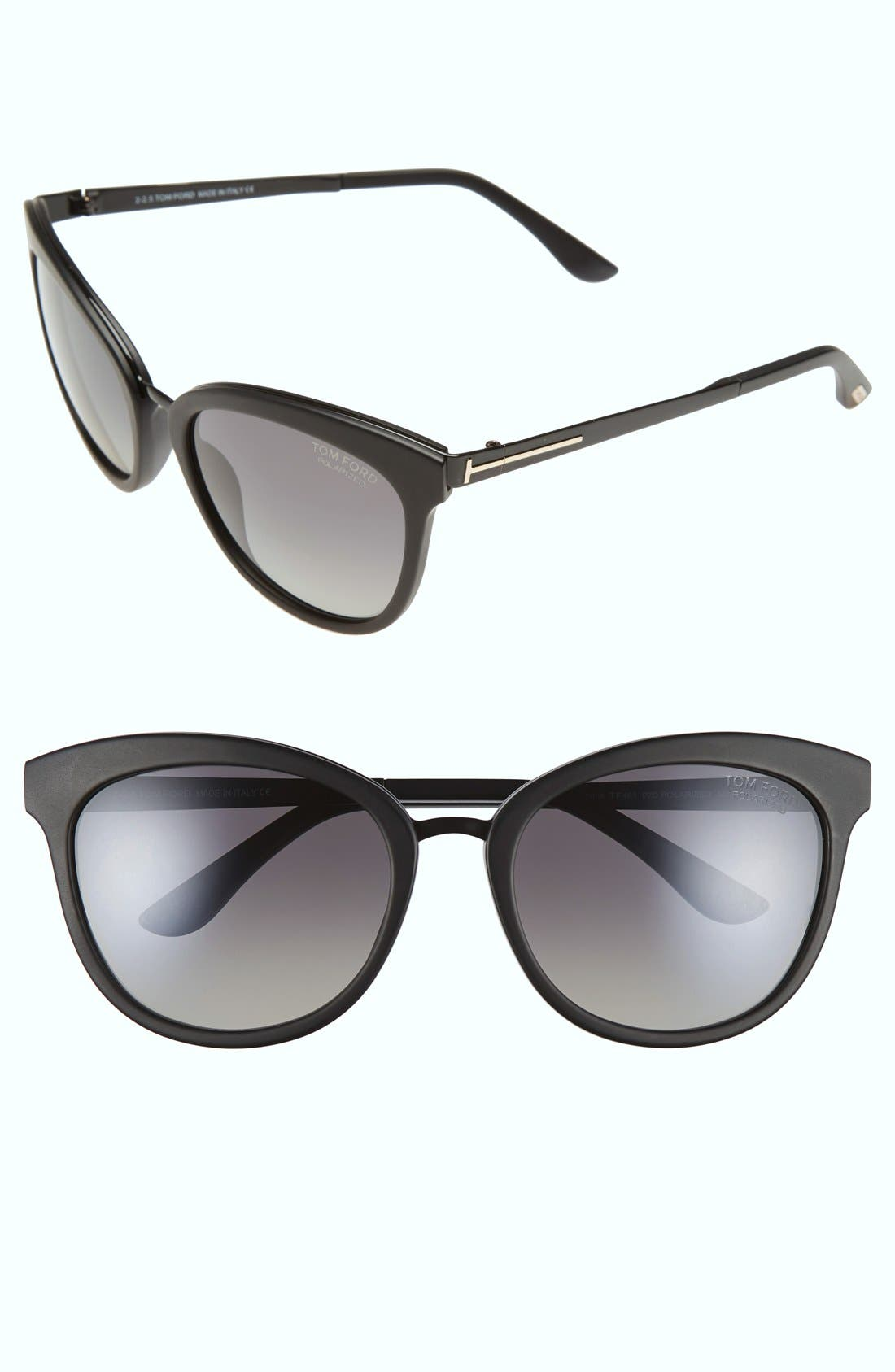 'Emma' 56mm Sunglasses,                             Main thumbnail 1, color,                             Matte Black/ Smoke Polarized