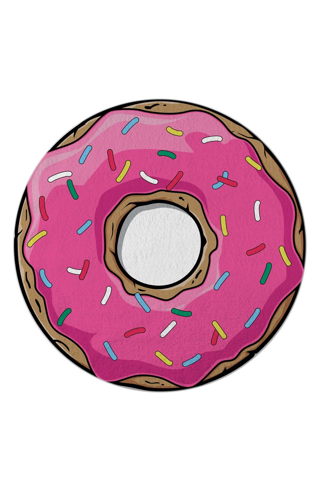 Donut Round Beach Towel,                         Main,                         color, Pink