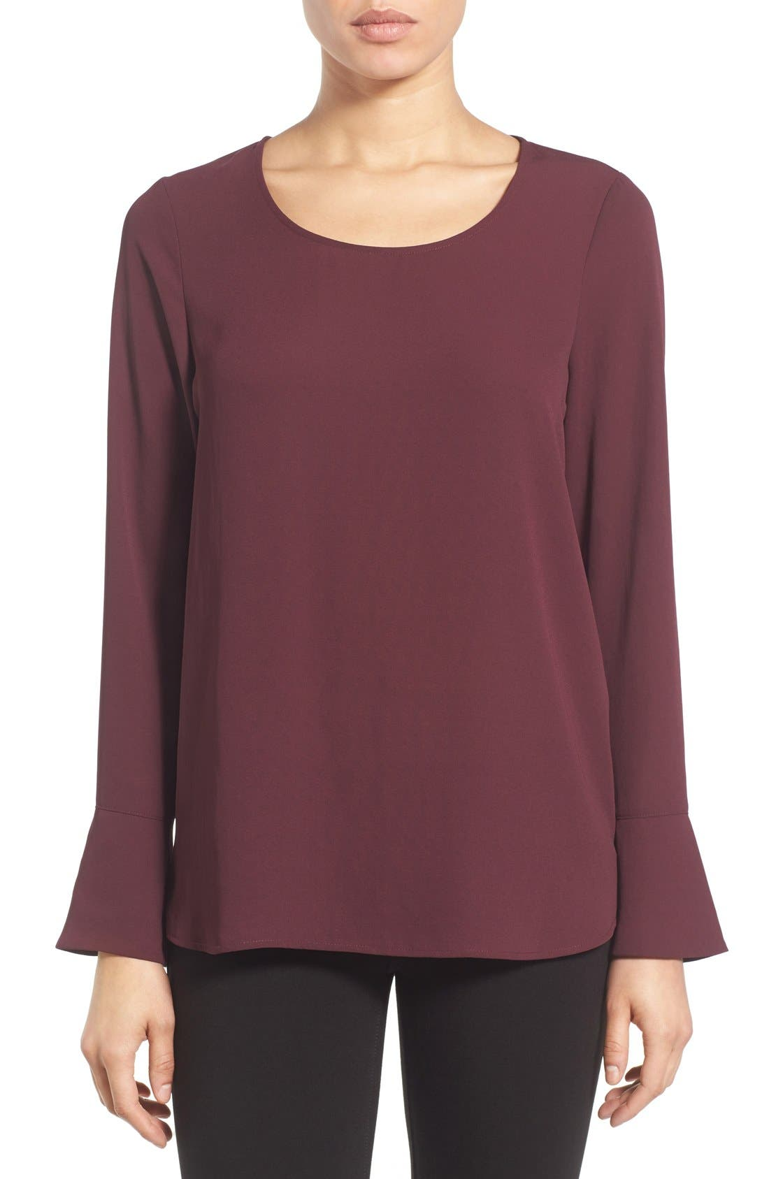 Bell Cuff High/Low Blouse,                             Main thumbnail 1, color,                             Burgundy Stem
