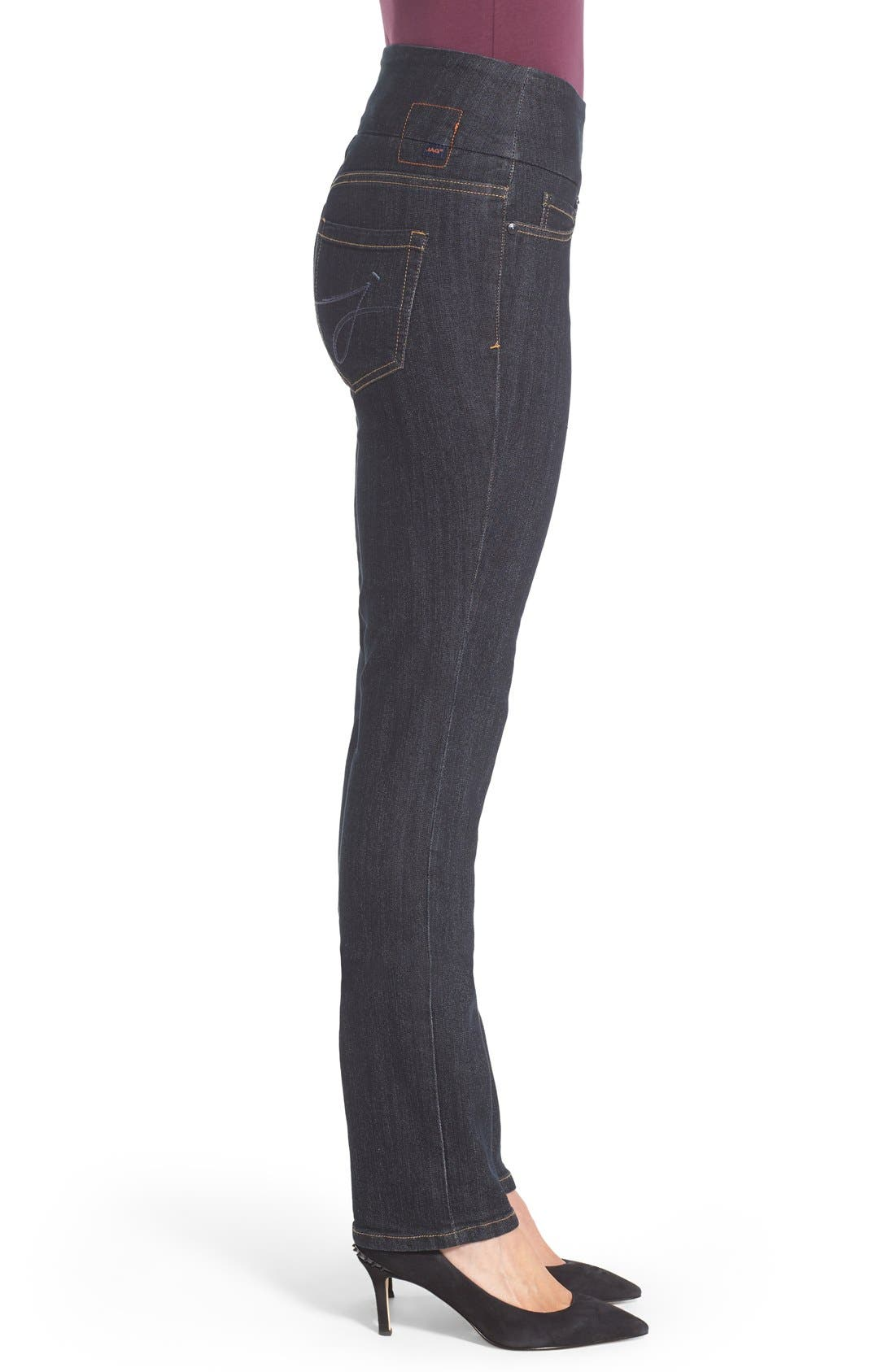 'Peri' Pull-On Stretch Straight Leg Jeans,                             Alternate thumbnail 3, color,                             Late Night Wash