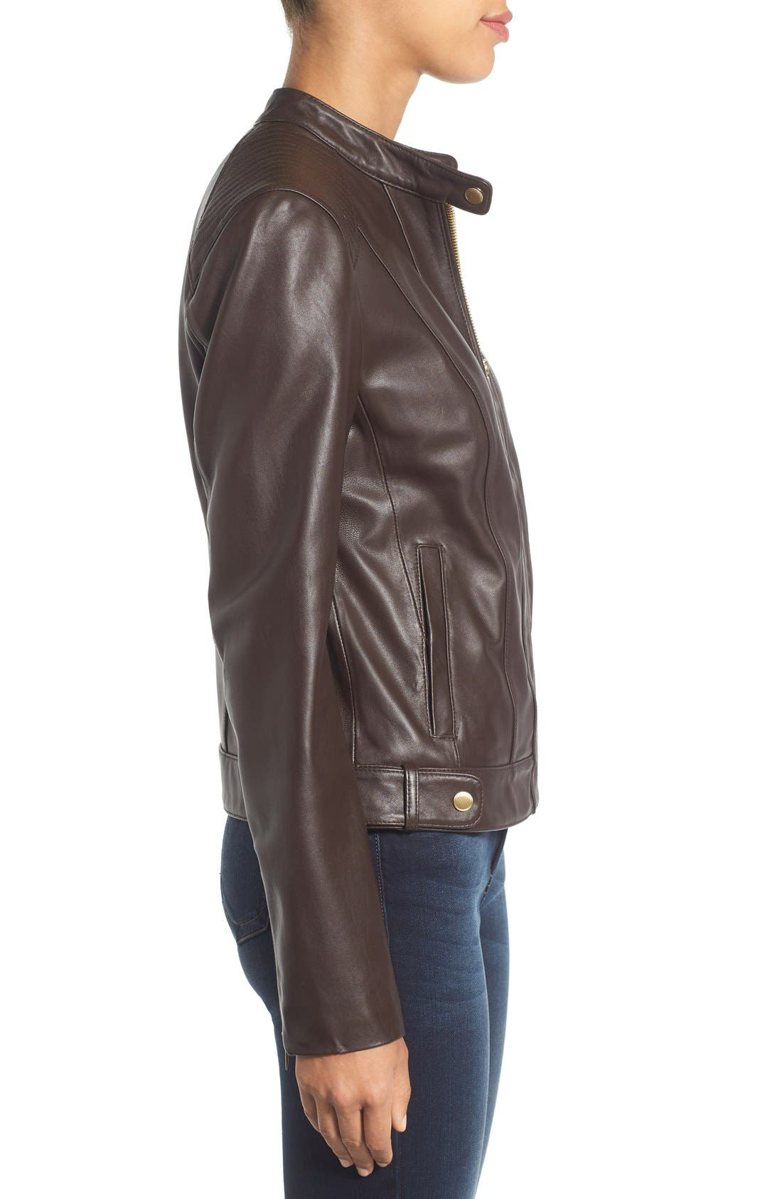 Alternate Image 3  - Cole Haan Leather Moto Jacket (Regular & Petite)