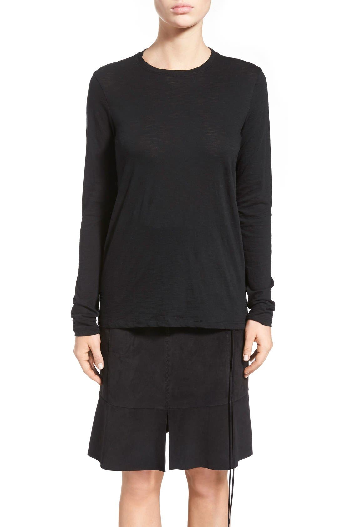 Tissue Jersey Long Sleeve Tee,                         Main,                         color, Black