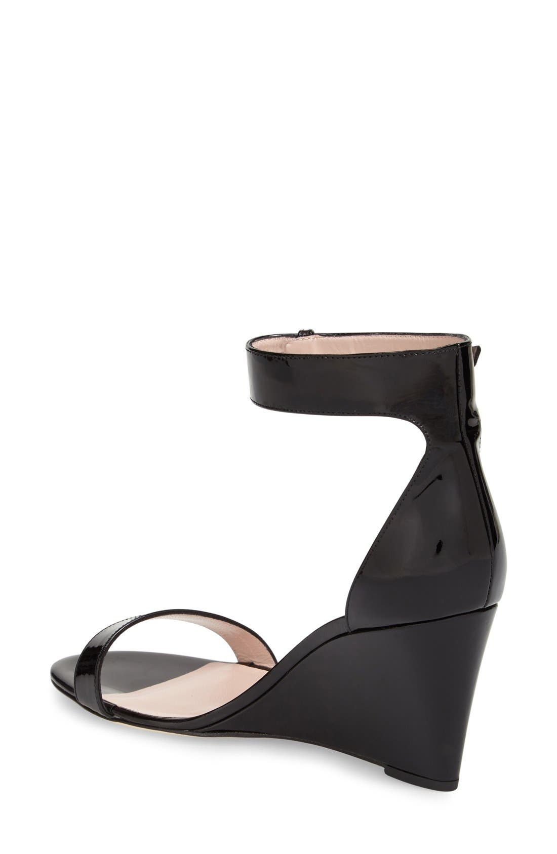 'ronia' wedge sandal,                             Alternate thumbnail 2, color,                             Black Patent