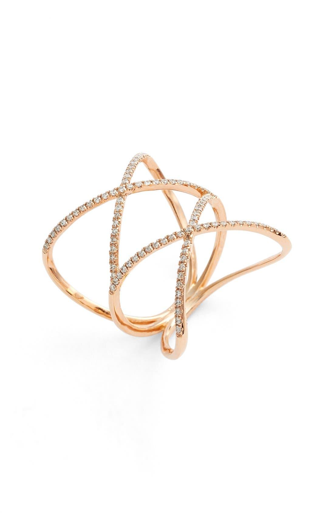 Diamond Double Crisscross Ring,                         Main,                         color, Rose Gold