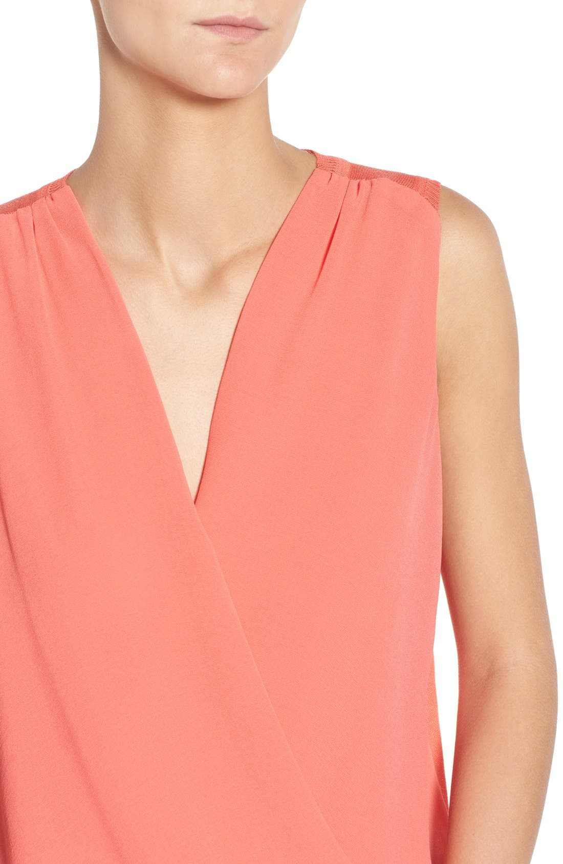 'Maiden' Surplice Front Top,                             Alternate thumbnail 4, color,                             Pacific Coral