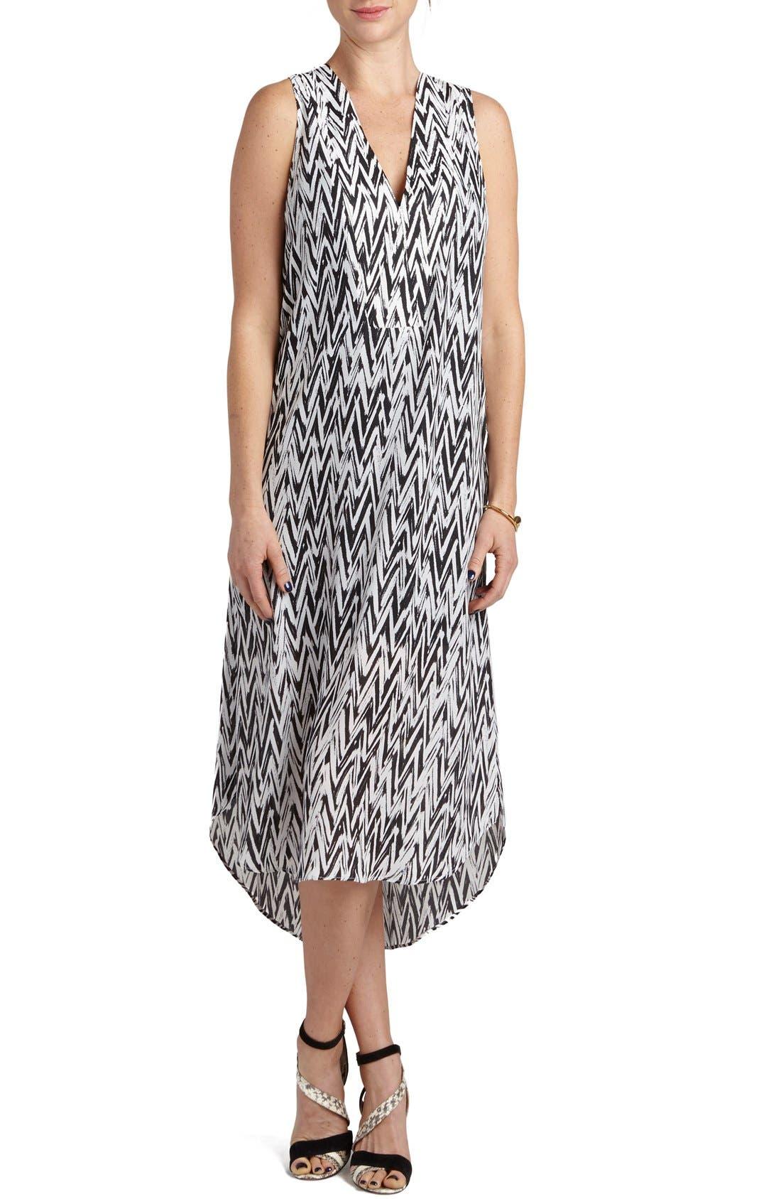 'January' Print Maternity/Nursing High/Low Dress,                         Main,                         color, Black/ White Chevron