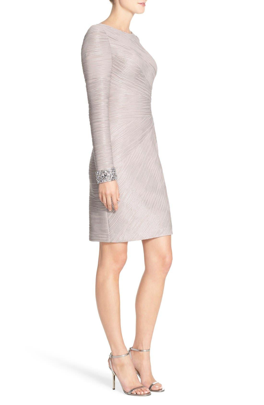 Embellished Sleeve Knit Sheath Dress,                             Alternate thumbnail 3, color,                             Taupe