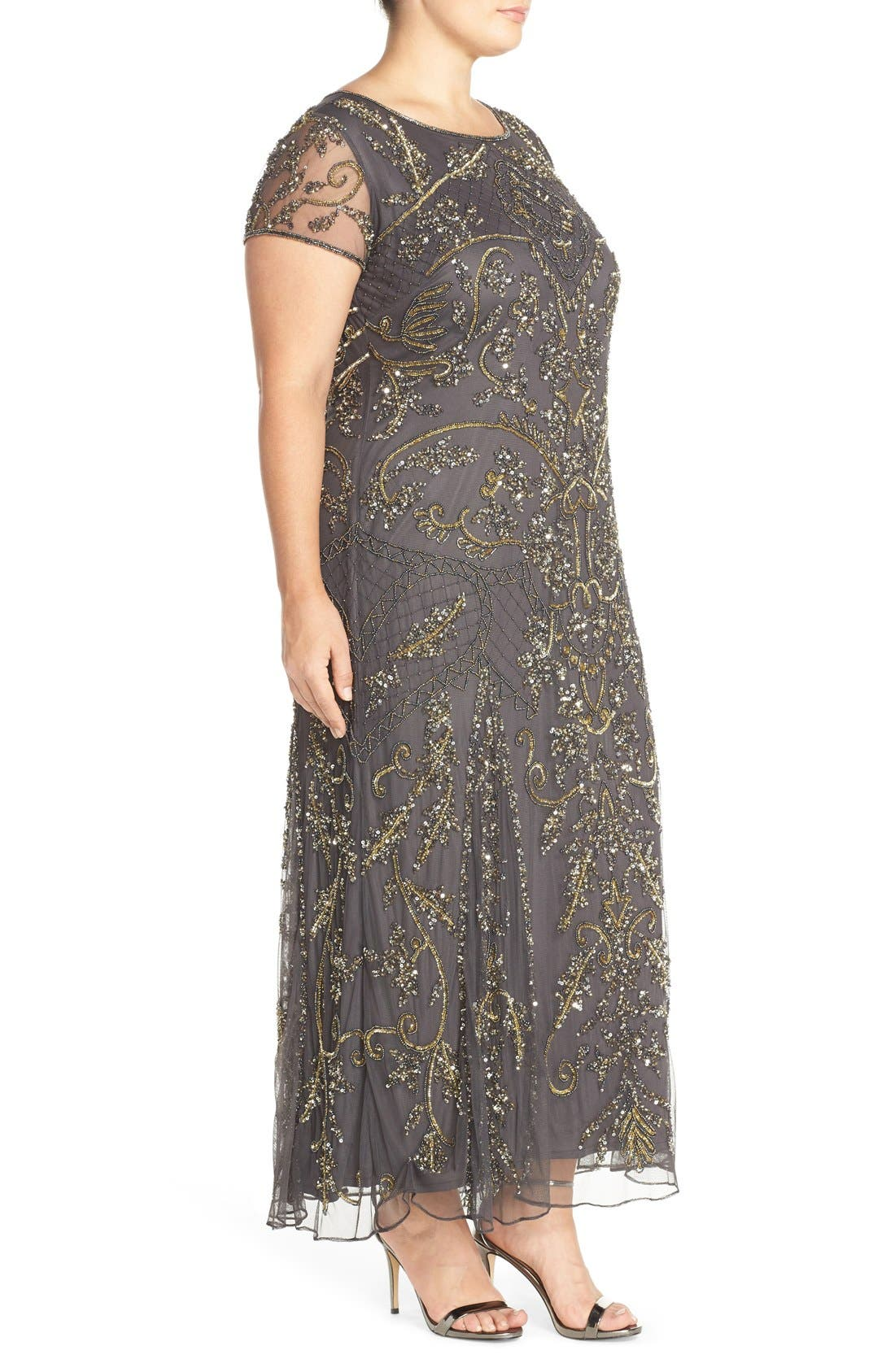 Alternate Image 3  - Pisarro Nights Beaded Short Sleeve Column Gown (Plus Size)