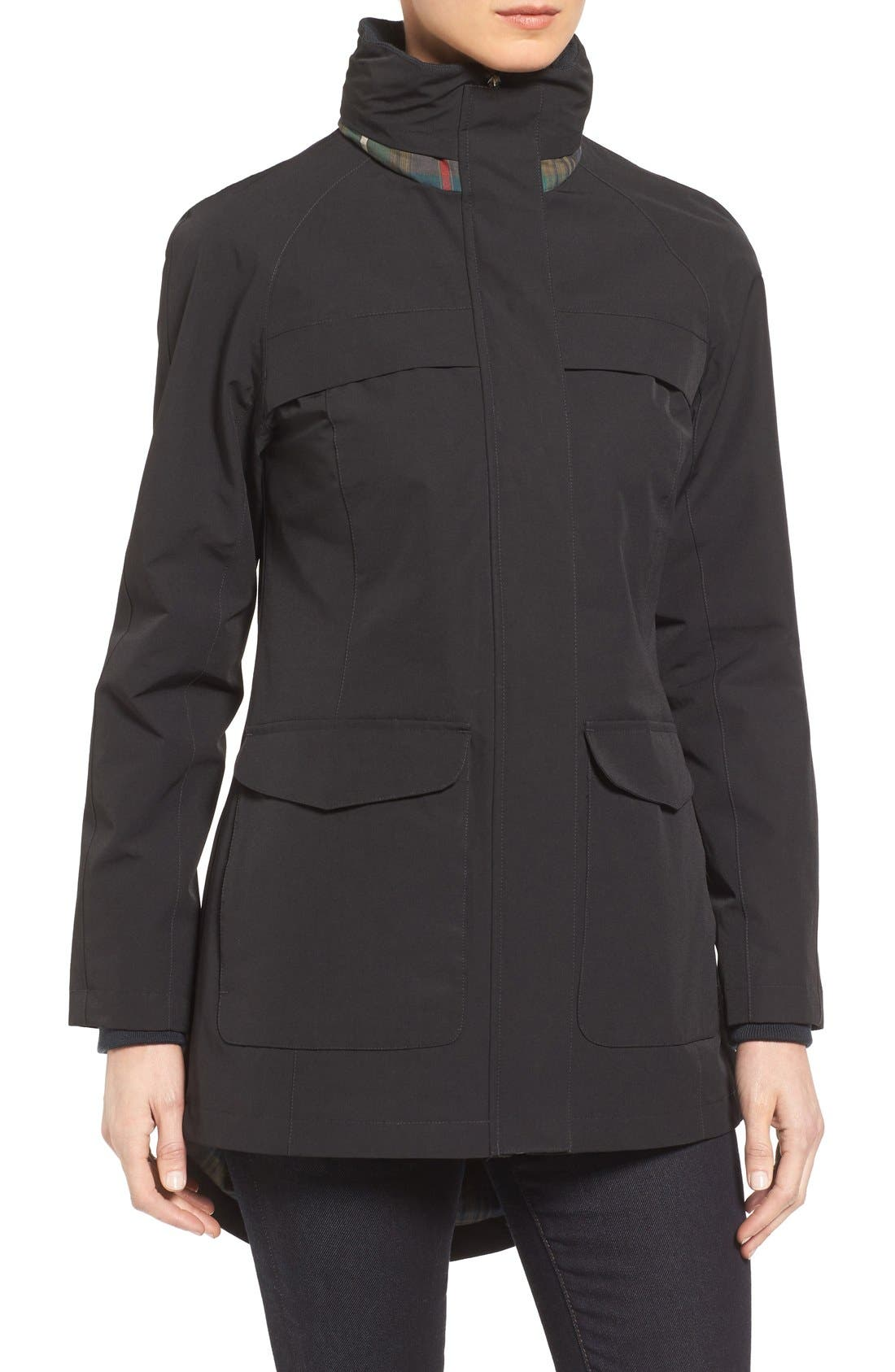 Hooded Raincoat,                             Alternate thumbnail 4, color,                             Black