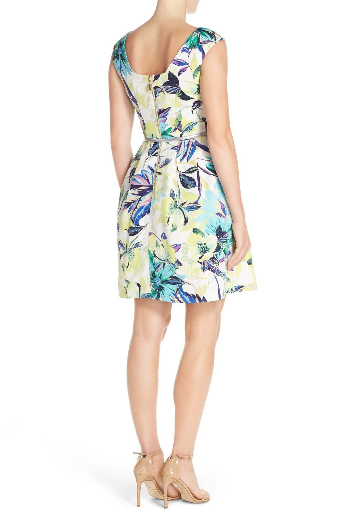 Alternate Image 2  - Eliza J Belted Faille Fit & Flare Dress