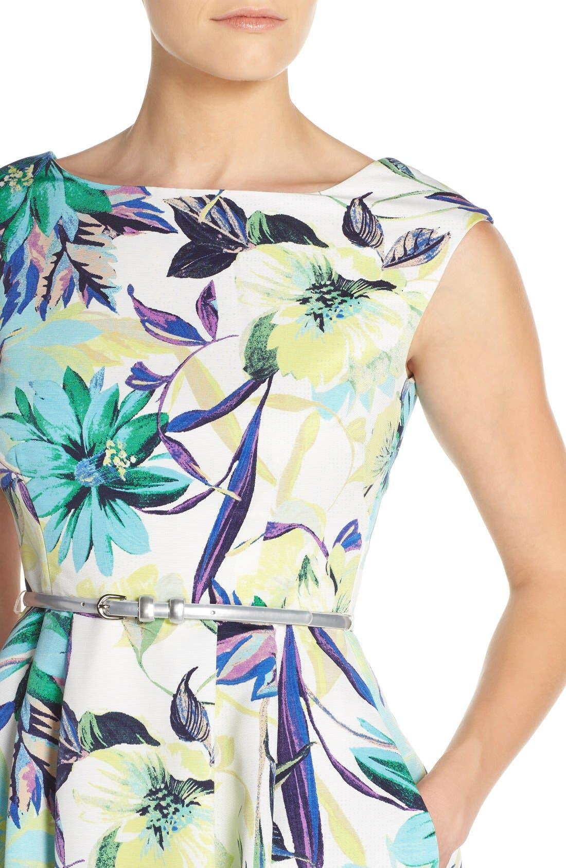 Alternate Image 5  - Eliza J Belted Faille Fit & Flare Dress