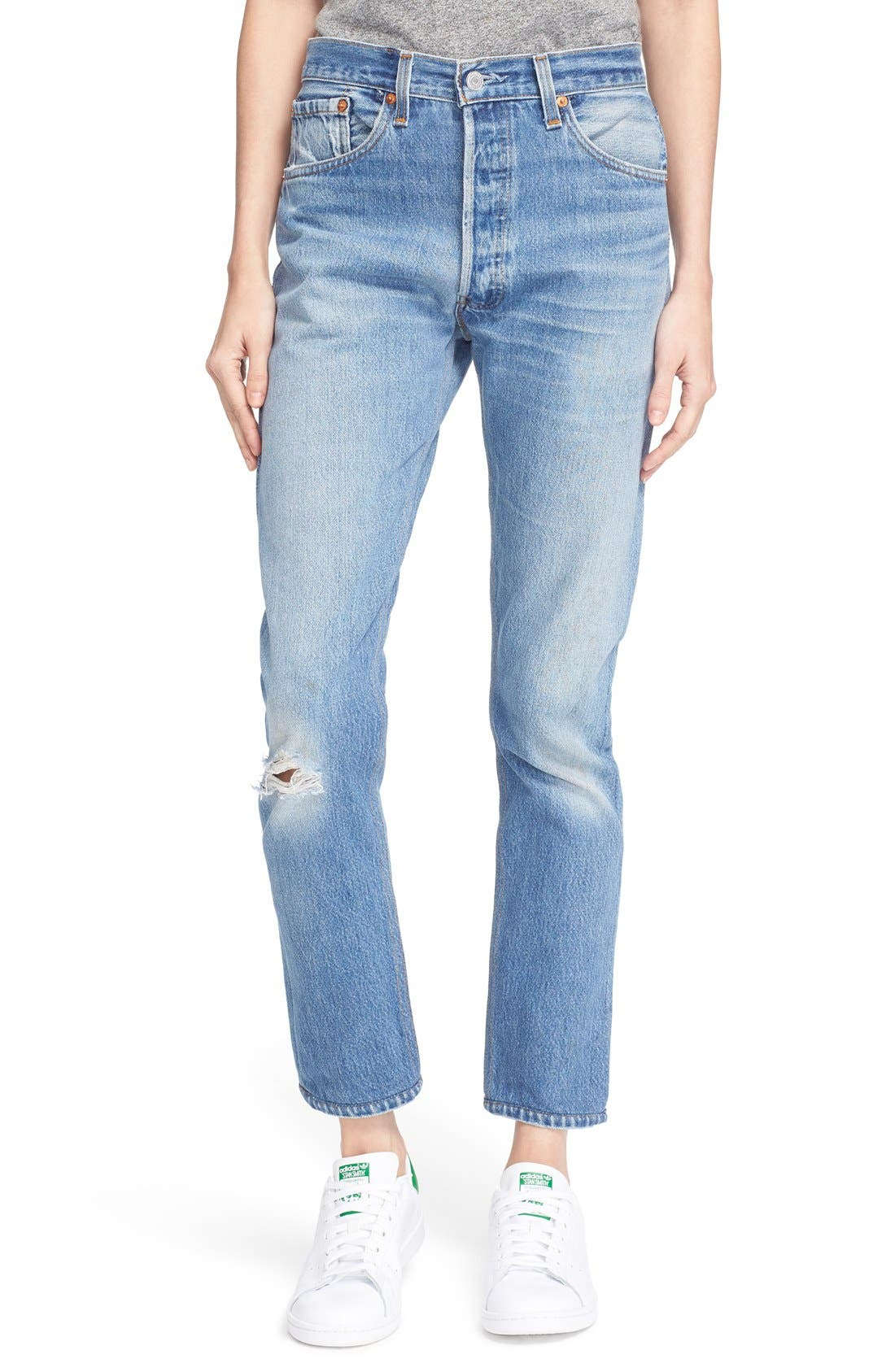 The High Waist Reconstructed Jeans,                         Main,                         color, Destruction
