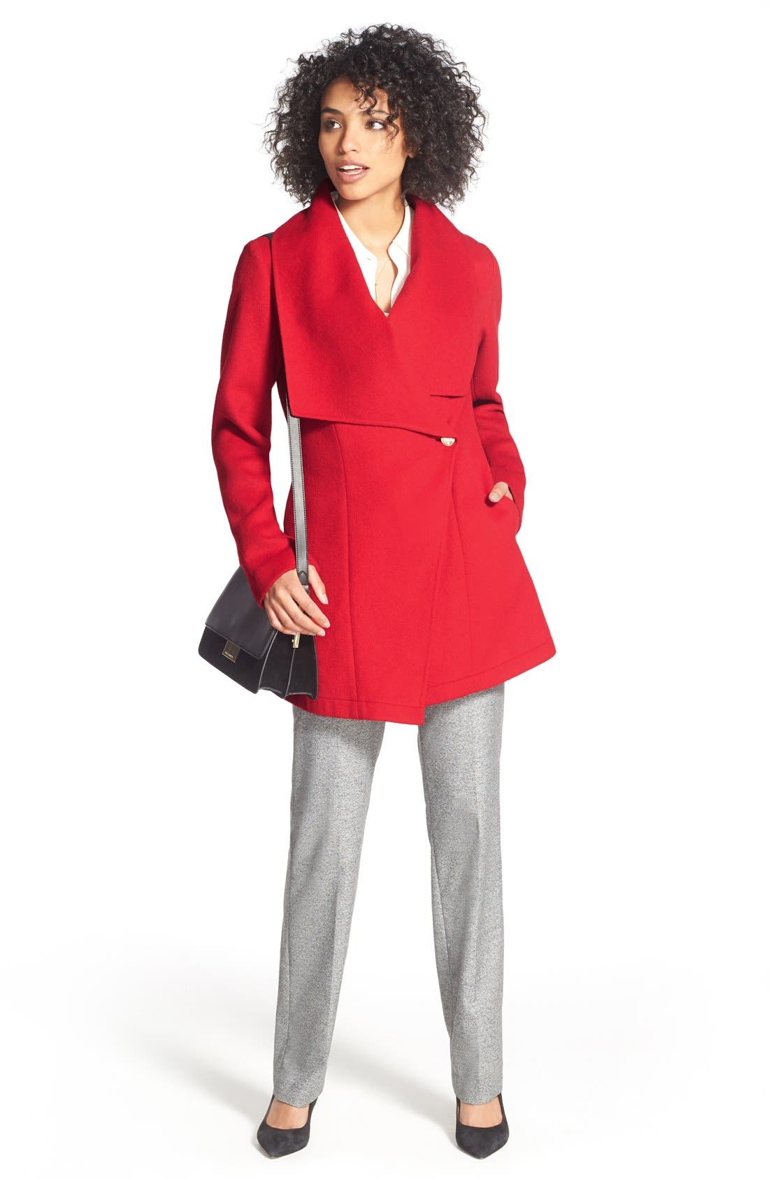 Alternate Image 2  - Laundry by Shelli Segal Double Face Drape Collar Coat