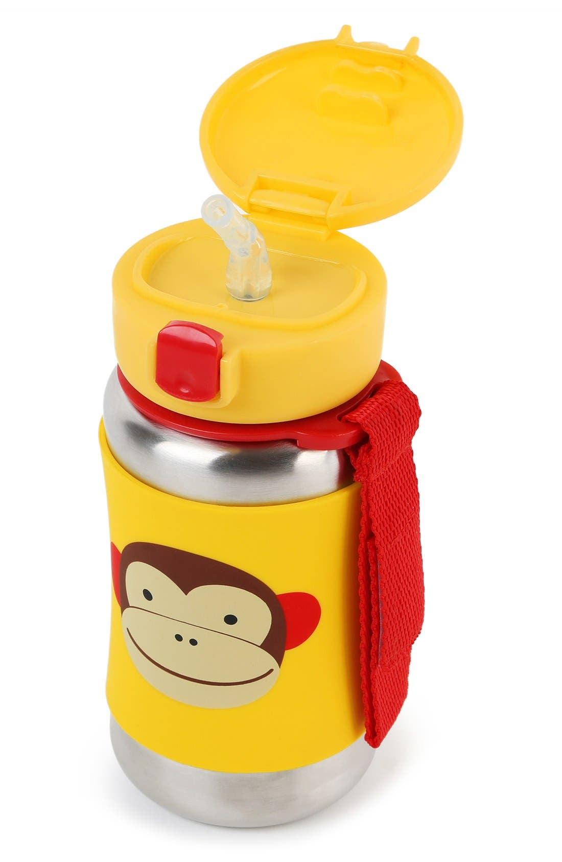 'Zoo - Monkey' Stainless Steel Straw Bottle,                             Alternate thumbnail 2, color,                             Yellow
